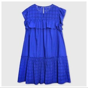 NWT Who What Wear Royal Blue Eyelet Ruffle Dress M